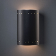 Justice Design CER-1295W-CRB Ambiance Large Cylinder Contemporary Carbon Matte Black LED Outdoor Ceramic Wall Lighting Fixture