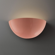 Justice Design CER-1355 Ambiance Large Quarter Sphere Contemporary Ceramic LED Wall Sconce Lighting