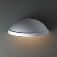 Justice Design CER-2050W-BIS Ambiance Rimmed Quarter Sphere - Downlight (Outdoor) Contemporary Bisque LED Exterior Ceramic Lamp Sconce