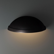 Justice Design CER-2050W-CRB Ambiance Rimmed Quarter Sphere - Downlight (Outdoor) Contemporary Carbon Matte Black LED Outdoor Ceramic Wall Sconce Lighting
