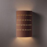 Justice Design CER-2285W-CLAY Ambiance Small Cactus Cylinder Contemporary Canyon Clay LED Exterior Ceramic Wall Light Sconce
