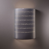 Justice Design CER-2295W-GRY Ambiance Large Cactus Cylinder Contemporary Gloss Grey LED Outdoor Ceramic Wall Light Sconce