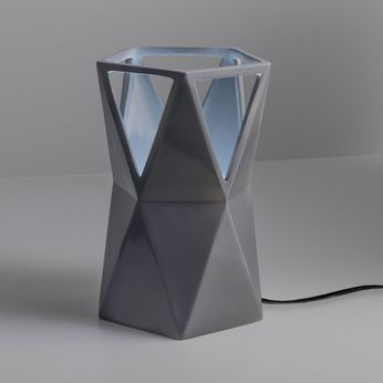Justice Design CER-2430-GRY Portable Totem Modern Gloss Gray LED Accent Ceramic Lighting Table Lamp