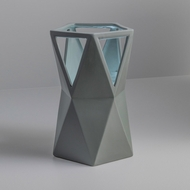 Justice Design CER-2430-PWGN Portable Totem Contemporary Pewter Green LED Accent Ceramic Table Top Lamp