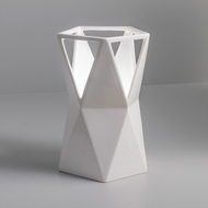 Justice Design CER-2430-WHT Portable Totem Modern Gloss White LED Accent Ceramic Side Table Lamp