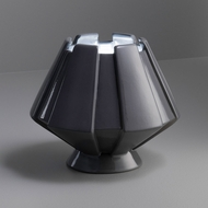 Justice Design CER-2440-GRY Portable Meta Contemporary Gloss Gray LED Accent Ceramic Table Lamp Lighting
