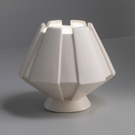 Justice Design CER-2440-WHT Portable Meta Modern Gloss White LED Accent Ceramic Side Table Lamp