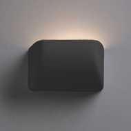 Justice Design CER-2900-CRB Ambiance Small Scoop Contemporary Carbon Matte Black LED Ceramic Wall Lamp