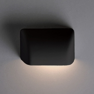 Justice Design CER-2900W-CRB Ambiance Small Scoop Contemporary Carbon Matte Black LED Exterior Ceramic Wall Lighting