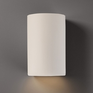 Justice Design CER-5260W-MAT Ambiance Large Cylinder Contemporary Matte White LED Outdoor Ceramic Wall Lighting Sconce
