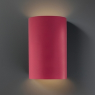 Justice Design CER-5265W-CRSE Ambiance Large Cylinder Contemporary Cerise LED Exterior Ceramic Wall Light Sconce