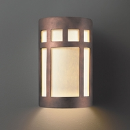 Justice Design CER-5340W-ANTC Ambiance Small Prairie Window Contemporary Antique Copper LED Outdoor Ceramic Wall Sconce Lighting