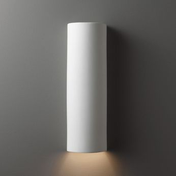 Justice Design CER-5400W-BIS Ambiance Tube Contemporary Bisque LED Exterior Ceramic Wall Lighting Sconce