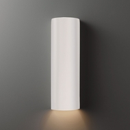 Justice Design CER-5400W-WHT Ambiance Tube Modern Gloss White LED Outdoor Ceramic Wall Mounted Lamp