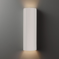 Justice Design CER-5405-WHT Ambiance Tube Contemporary Gloss White LED Ceramic Wall Light Sconce