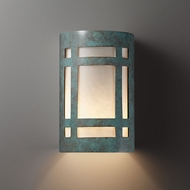 Justice Design CER-5480W Ambiance Small Craftsman Window Contemporary Ceramic LED Outdoor Light Sconce