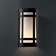 Justice Design CER-5490W-CRB Ambiance Large Craftsman Window Contemporary Carbon Matte Black LED Outdoor Ceramic Wall Lamp