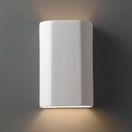 Justice Design CER-5505W-BIS Ambiance Flat Cylinder Modern Bisque LED Outdoor Ceramic Wall Mounted Lamp