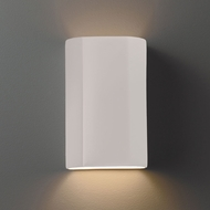 Justice Design CER-5505W-MAT Ambiance Flat Cylinder Contemporary Matte White LED Outdoor Ceramic Wall Lighting Fixture