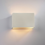 Justice Design CER-5645-MAT Ambiance Small Wide Rectangle Contemporary Matte White LED Ceramic Light Sconce
