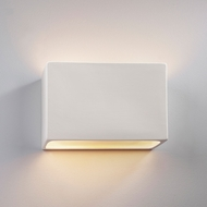 Justice Design CER-5645W-BIS Ambiance Small Wide Rectangle Modern Bisque LED Outdoor Ceramic Lighting Sconce