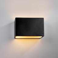 Justice Design CER-5645W-CRB Ambiance Small Wide Rectangle Modern Carbon Matte Black LED Exterior Ceramic Lamp Sconce