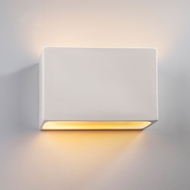 Justice Design CER-5655W-BIS Ambiance Large Wide Rectangle Modern Bisque LED Outdoor Ceramic Wall Sconce Lighting
