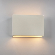 Justice Design CER-5655W-MAT Ambiance Large Wide Rectangle Modern Matte White LED Outdoor Ceramic Lighting Wall Sconce