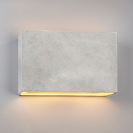 Justice Design CER-5659W-CONC Ambiance Wide Rectangle Contemporary Concrete LED Exterior Ceramic Wall Lighting Sconce