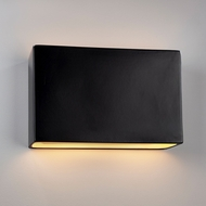 Justice Design CER-5659W-CRB Ambiance Wide Rectangle Contemporary Carbon Matte Black LED Outdoor Ceramic Wall Sconce Lighting