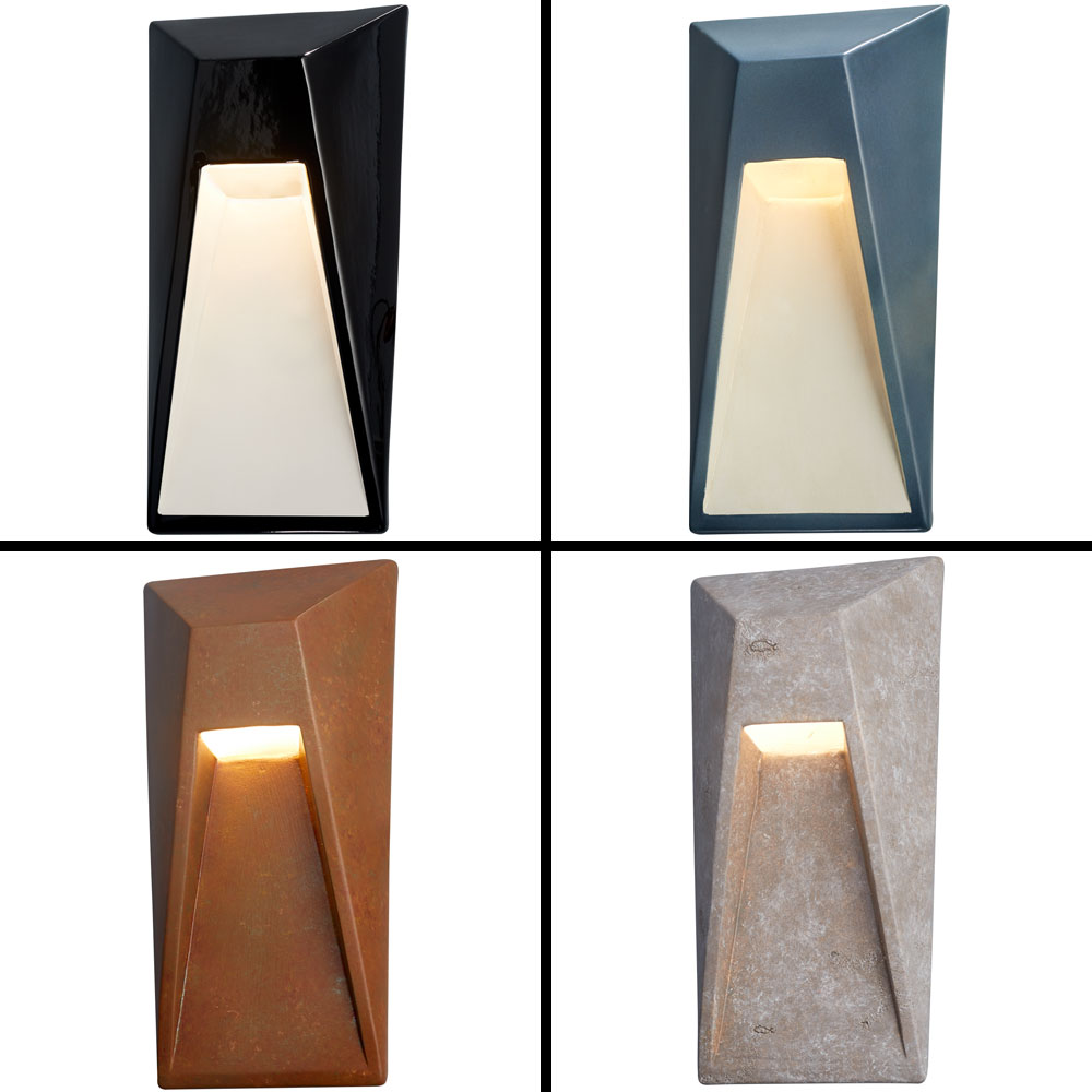 Justice Design Cer 5680w Ambiance Modern Led Outdoor Vertice Wall Sconce Lighting