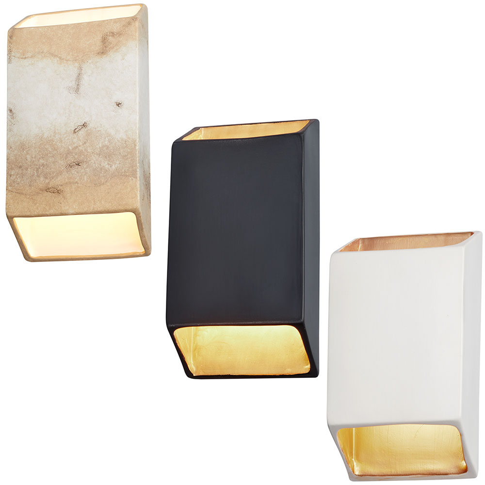 Justice Design Cer 5875 Ambiance Contemporary Led Large Tapered Rectangle Open Top Bottom Wall Sconce Light