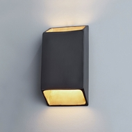 Justice Design CER-5875W-CBGD Ambiance Large Tapered Rectangle Contemporary Carbon Matte Black with Champagne Gold LED Outdoor Ceramic Wall Sconce Light