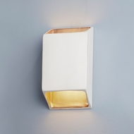 Justice Design CER-5875W-MTGD Ambiance Large Tapered Rectangle Contemporary Matte White with Champagne Gold LED Exterior Ceramic Wall Sconce