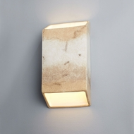 Justice Design CER-5875W-TRAG Ambiance Large Tapered Rectangle Modern Greco Travertine LED Outdoor Ceramic Wall Lamp