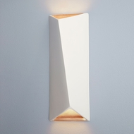 Justice Design CER-5899-MTGD Ambiance Large Diagonal Rectangle Modern Matte White with Champagne Gold LED Ceramic Wall Light Sconce