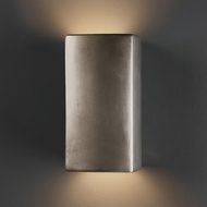 Justice Design CER-5915-ANTS Ambiance Small Rectangle Modern Antique Silver LED Ceramic Sconce Lighting