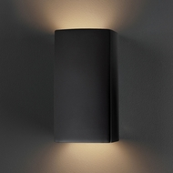 Justice Design CER-5915W-CRB Ambiance Small Rectangle Contemporary Carbon Matte Black LED Exterior Ceramic Wall Sconce Lighting