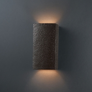 Justice Design CER-5915W-HMIR Ambiance Small Rectangle Modern Hammered Iron LED Outdoor Ceramic Wall Light Fixture