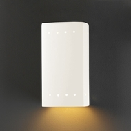 Justice Design CER-5920W-WHT Ambiance Small Rectangle Modern Gloss White LED Outdoor Ceramic Wall Mounted Lamp