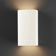 Justice Design CER-5925W-WHT Ambiance Small Rectangle Contemporary Gloss White LED Exterior Ceramic Wall Lamp