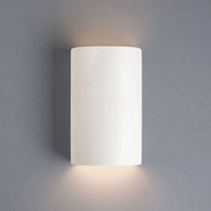 Justice Design CER-5945-MAT Ambiance Small Cylinder Contemporary Matte White LED Ceramic Wall Sconce Lighting