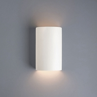 Justice Design CER-5945W-MAT Ambiance Small Cylinder Contemporary Matte White LED Exterior Ceramic Wall Lighting Sconce