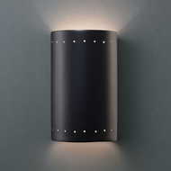 Justice Design CER-5995W-CRB Ambiance Small Cylinder Modern Carbon Matte Black LED Outdoor Ceramic Wall Lighting