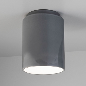 Justice Design CER-6100-GRY Radiance Cylinder Contemporary Gloss Grey LED Ceramic Ceiling Light