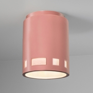 Justice Design CER-6107W-BSH Radiance Cylinder Contemporary Gloss Blush LED Outdoor Ceramic Overhead Light Fixture