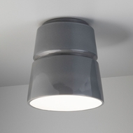 Justice Design CER-6150W-GRY Radiance Cone Modern Gloss Gray LED Outdoor Ceramic Home Ceiling Lighting
