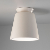 Justice Design CER-6170W-MAT Radiance Trapezoid Contemporary Matte White LED Exterior Ceramic Overhead Light Fixture