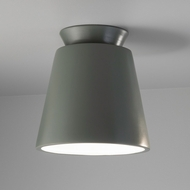 Justice Design CER-6170W-PWGN Radiance Trapezoid Modern Pewter Green LED Outdoor Ceramic Overhead Lighting Fixture