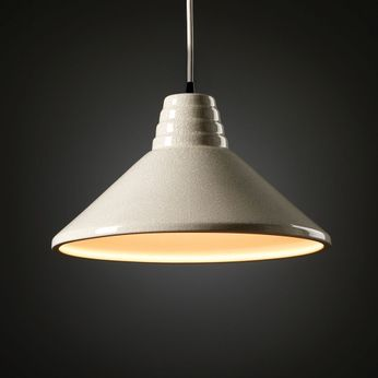 Justice Design CER-6200-CRK Radiance Ziggurat Modern White Crackle LED Ceramic Pendant Lighting